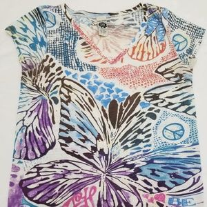Lucky Brand Women All Over Floral Print Tee Size L